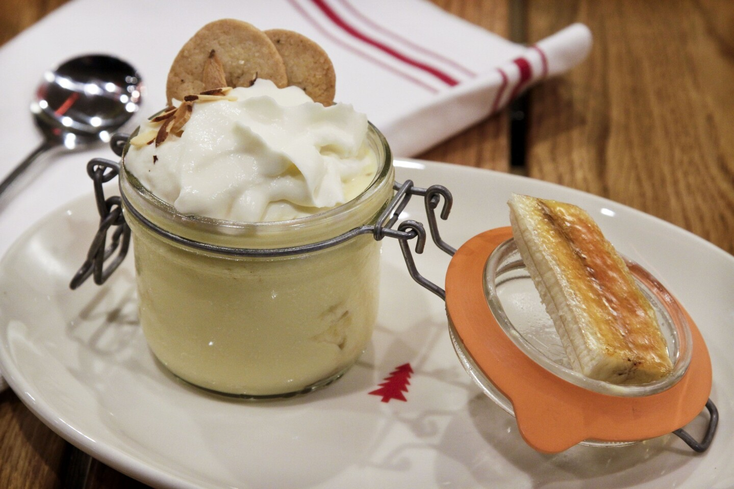 The banana cream pie is really more just banana pudding served in a Mason jar with homemade vanilla wafers.