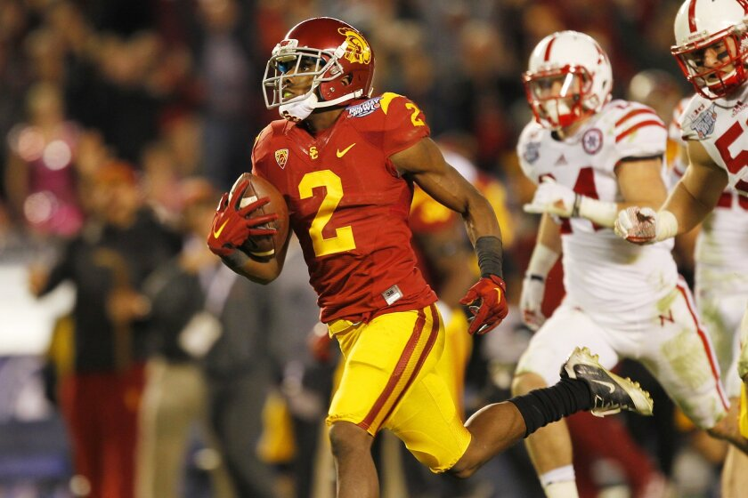 USC's Adoree' Jackson scores on a 72-yard play against Nebraska in the Holiday Bowl.