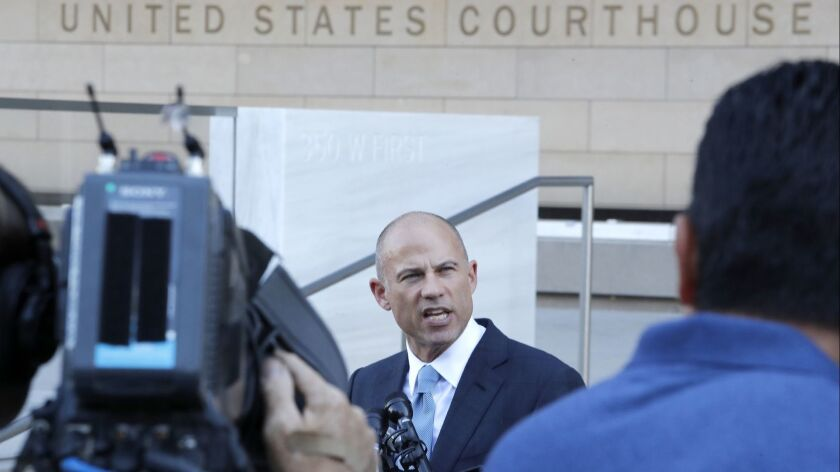 LOS ANGELES, CALIF. -- MONDAY, SEPTEMBER 24, 2018: Attorney Michael Avenatti speaks to media assembl