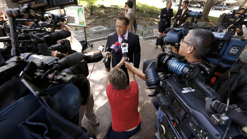 Los Angeles City Councilman Gil Cedillo discusses a proposal targeting businesses that have city contracts and are seeking to work on President Trump's proposed wall.
