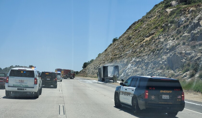 A big rig caught fire on southbound Interstate 15 Monday.