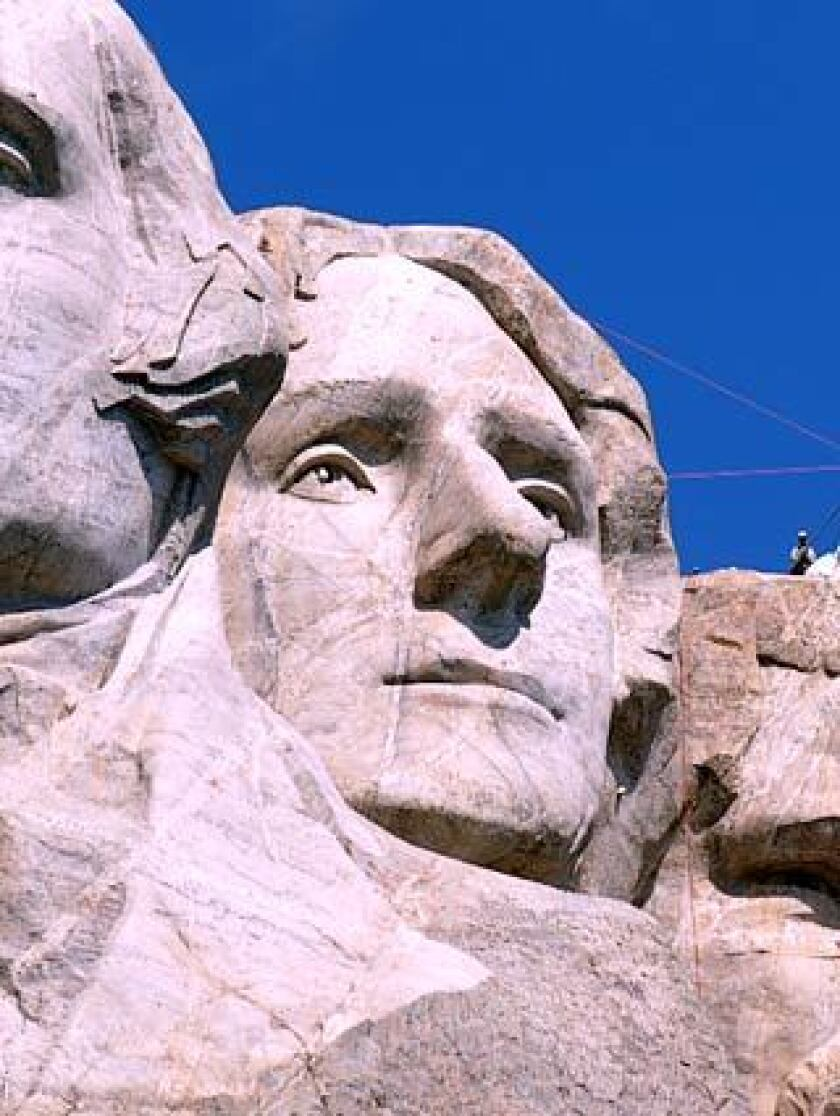 A close-up of Thomas Jefferson's likeness sculpted on Mt. Rushmore