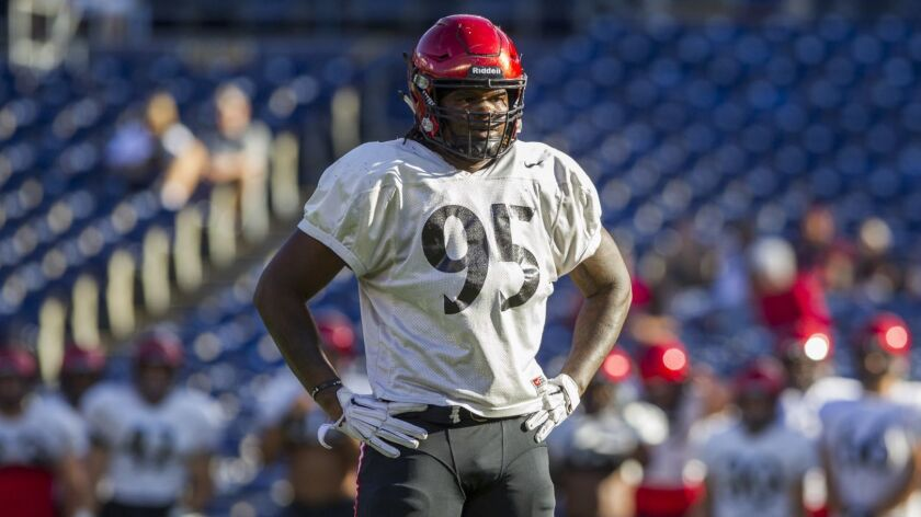 San Diego State's Noble Hall had 3 1/2 sacks last season, a total he looks to improve upon this year as he moves from defensive end to tackle.