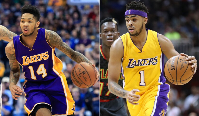 Rookie Brandon Ingram, left, and second-year player D'Angelo Russell will represent the Lakers at the Rising Stars Challenge during All-Star weekend.