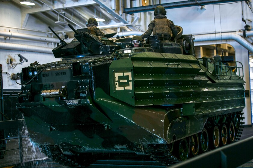 A U.S. Marine Corps AAV-P7/A1 assault amphibious vehicle