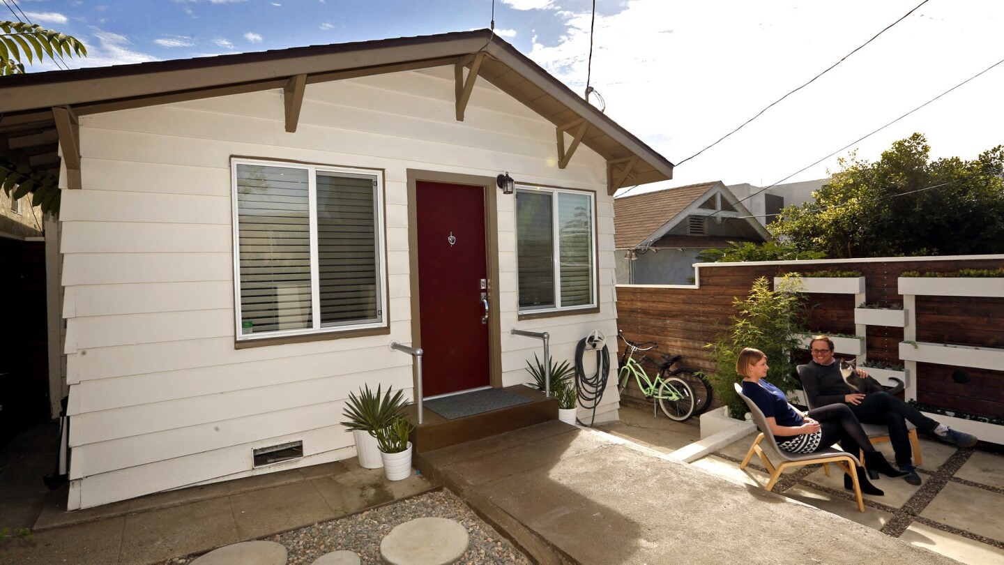 When the pair feel cramped in their 552-square-foot Echo Park home, they enjoy their patio.