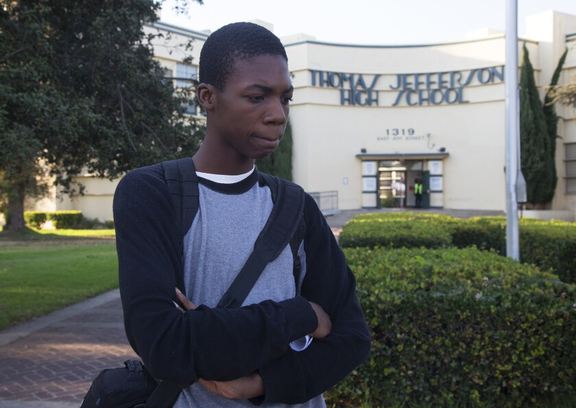 Armani Richards, a senior at Jefferson High School, is one of hundreds of students at the school who lost learning time this year because a malfunctioning computer system failed to provide accurate schedules.