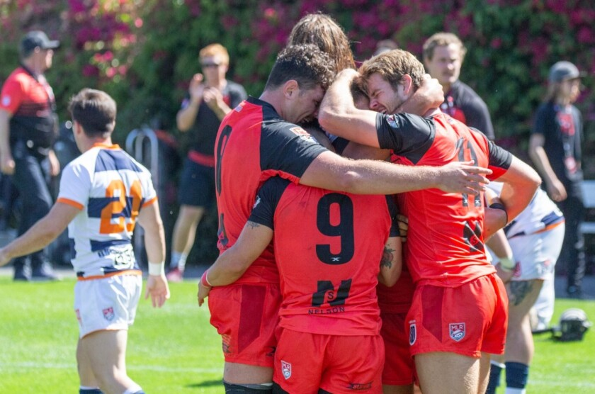 San Diego Legion players celebrate the game-winning try in their MLR playoff semifinal win over Rugby United New York.