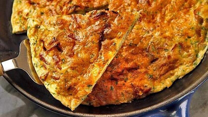 Prosciutto and onion frittata