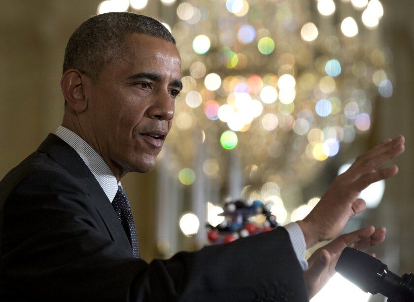 President Obama speaks in the East Room of the White House on Jan 30.