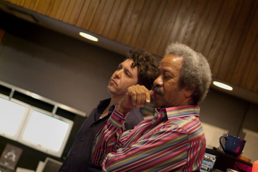 """Producer Joe Henry, left, and songwriter, pianist, producer and singer Allen Toussaint during a 2005 recording session for the album """"Our New Orleans"""" benefiting victims of Hurricane Katrina."""