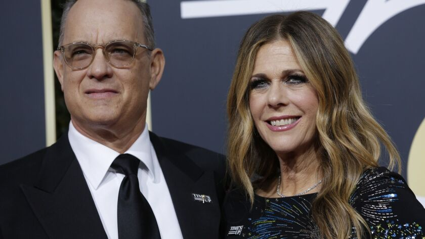 """Tom Hanks and Rita Wilson arriving at the 75th Golden Globes at the Beverly Hilton Hotel Jan. 7. Both were slated to be in a Shakespeare Center of Los Angeles production of """"Henry IV"""" this summer, but Wilson had to drop out."""