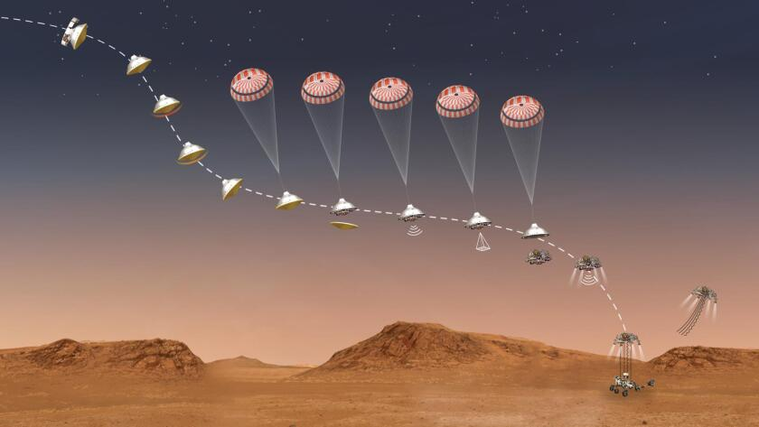 Artist's rendering of what it looked like when Perseverance landed on Mars.