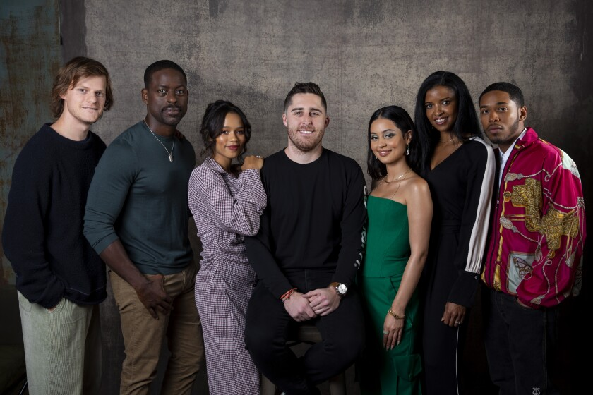 "Actors Lucas Hedges, left, Sterling K. Brown and Taylor Russell, director Trey Edward Shults, and actors Alexa Demi, Renée Elise Goldsberry and Kelvin Harrison Jr., from the film ""Waves,"" photographed in the L.A. Times Photo Studio at the Toronto International Film Festival on Sept. 20."