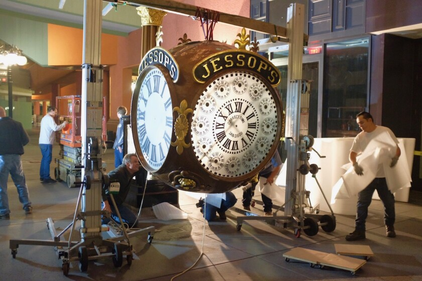On April 2, starting at 3 a.m., a work crew disassembled the tall Jessop's street clock that is more than 110 years old and has been a landmark in Horton Plaza for the past 35 years. After the clock was vandalized in February, the Jessop's family decided to put it in storage for safekeeping until it can be re-erected in a new public location.