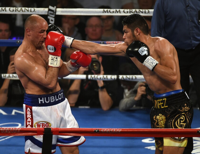 Gilberto Ramirez throws a right at Arthur Abraham during their WBO super-middleweight championship fight Saturday at MGM Grand Garden Arena in Las Vegas.
