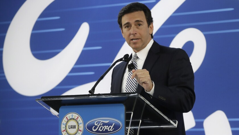 Ford President and CEO Mark Fields addresses the Flat Rock Assembly in Flat Rock, Mich., in January.