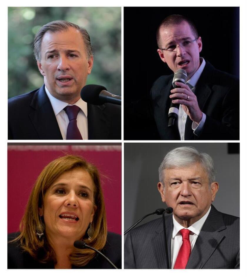 Combo de fotografías que muestra al candidato presidencial José Antonio Meade (i-arriba), por la coalición PRI, PVEM y Nueva Alianza; Ricardo Anaya (d-arriba), por la alianza Acción Nacional (PAN, conservador), de la Revolución Democrática (PRD, izquierda) y Movimiento Ciudadano (MC, de izquierda); la ex primera dama Margarita Zavala (i-abajo), candidata independiente y Andrés Manuel López Obrador (d-abajo), quien compite por tercera vez por la Presidencia de México y ostenta la candidatura de una alianza integrada por su izquierdista Movimiento Regeneración Nacional (Morena) y los partidos del Trabajo (PT) y Encuentro Social (PES). EFE/Archivo