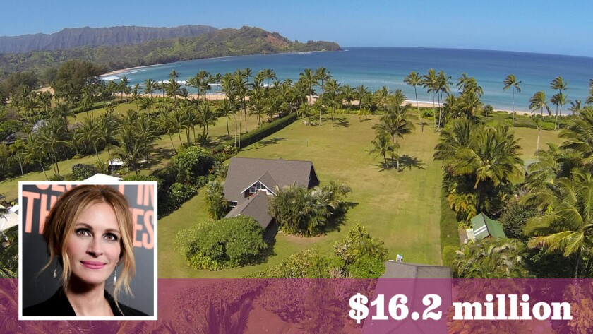 Actress Julia Roberts has sold her oceanfront home in Hawaii for $16.2 million. She had asked as much as $30 million for the two-plus-acre estate.