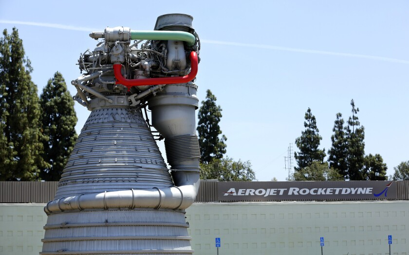 A model of the F-1 gas-generator cycle rocket engine used in the Saturn V rocket in the 1960s and early '70s can be seen near the entrance to the Aerojet Rocketdyne facility in Canoga Park.