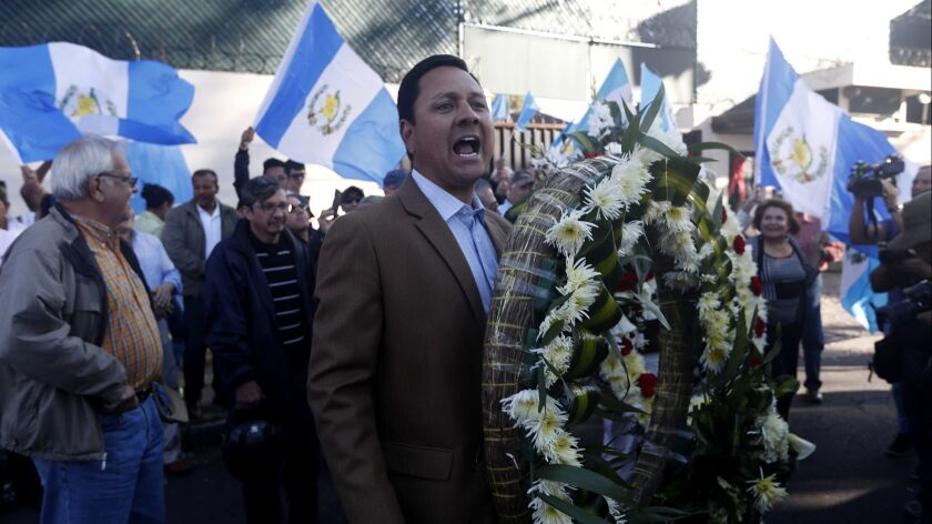 People protest against the United Nations International Commission Against Impunity, CICIG, in Guate