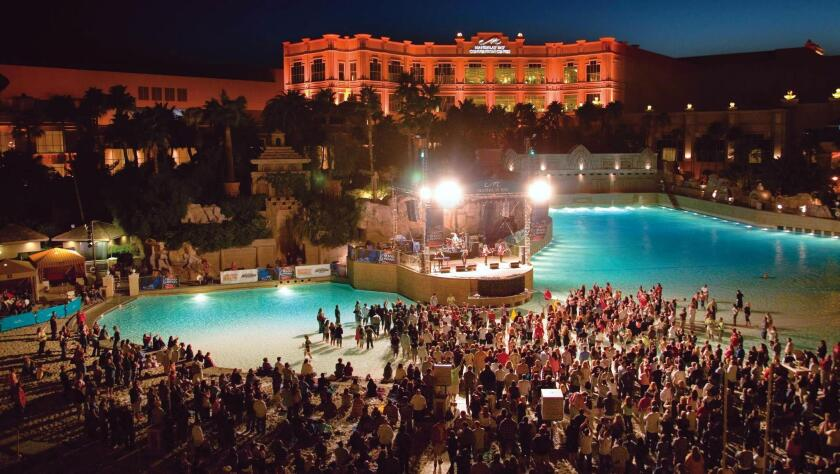 Beside a real sand beach and a sprawling wave pool, rock bands amp up the summer nights during the Concerts on the Beach series at Mandalay Bay Beach.