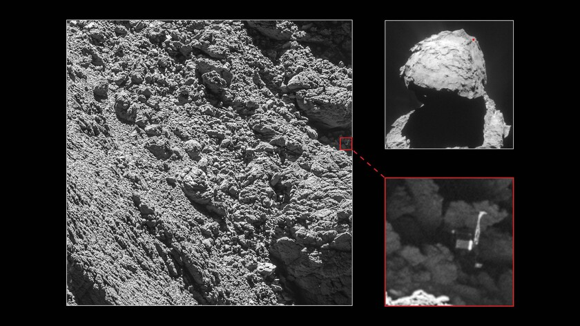 A new image from the European Space Agency's Rosetta orbiter reveals the location of Philae two years after it landed on a comet.