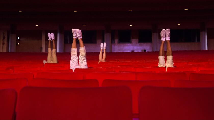 """Invertigo Dance Theatre performs """"House Lights Up"""" in the orchestra seats of the Dorthy Chandler Pavilion."""