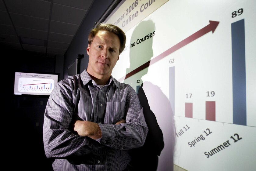 Dr. James Frazee, director of the Instructional Technology Services at San Diego State University, stands next to a projected graph showing steady increase of online education at SDSU.