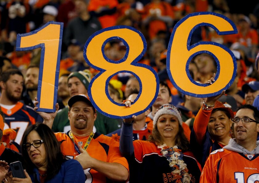 "Denver Broncos fans hold a ""186"" sign during the second half of an NFL football game against the Green Bay Packers, Sunday, Nov. 1, 2015, in Denver. With the win, Peyton Manning tied Brett Favre with the most wins in NFL history by a starting quarterback with 186. The Broncos won 29-10 to improve t"