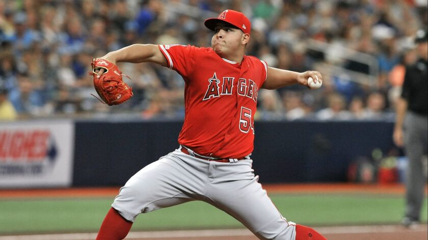 Los Angeles Angels starter Jose Suarez pitches against the Tampa Bay Rays during the second inning o