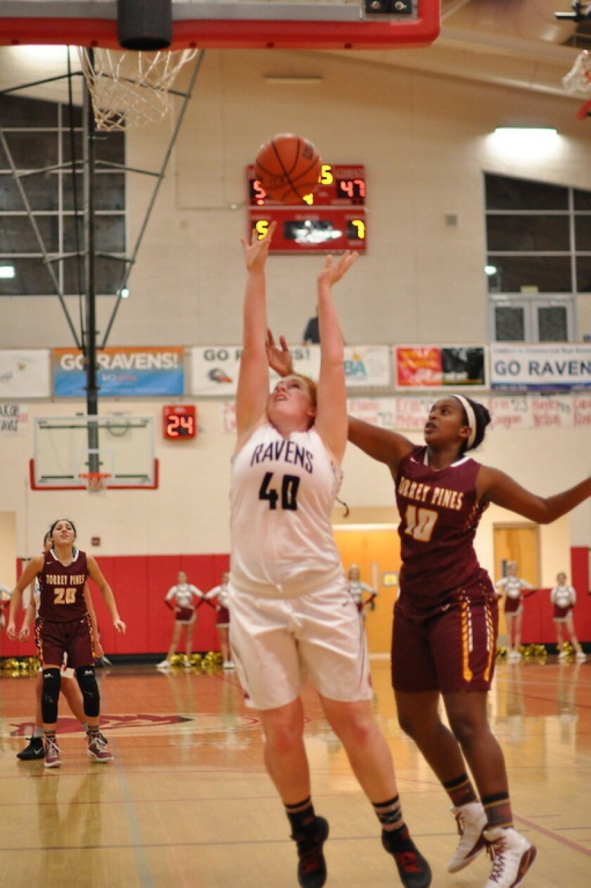 Audrey Tharp (right) in play on the basketball court.