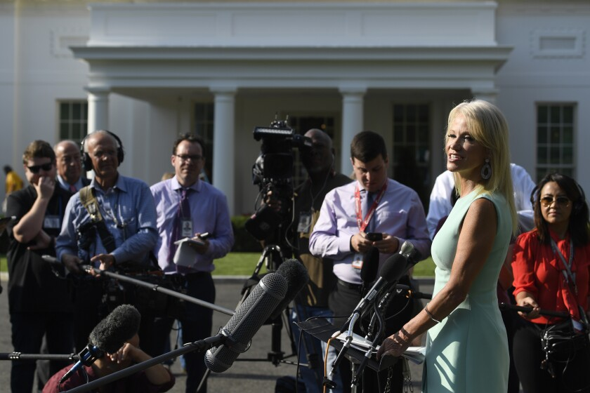"White House counselor Kellyanne Conway talks with reporters at the White House in Washington, Monday, Aug. 19, 2019. Conway declares that the ""fundamentals"" of the U.S. economy are strong, citing benchmarks to support her contention. The job market does look solid, yet the factory and housing sectors are struggling and financial markets are sounding the alarm that growth is much shakier than the administration says. (AP Photo/Susan Walsh)"