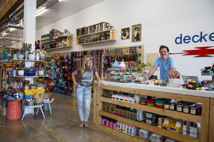 Kensey and Cody Decker own Decker's Dog + Cat pet supply store on Ivanhoe Avenue in La Jolla.