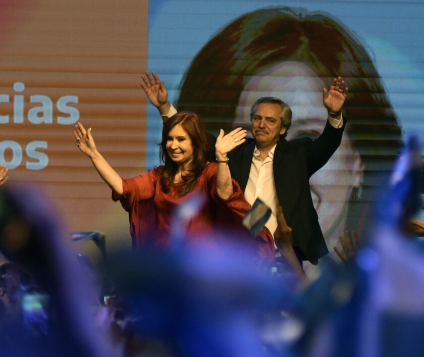 The newly elected Argentinian President Alberto Fernandez and his vice president, Cristina Fernández, celebrate the victory Oct. 28 in the general elections in Buenos Aires.
