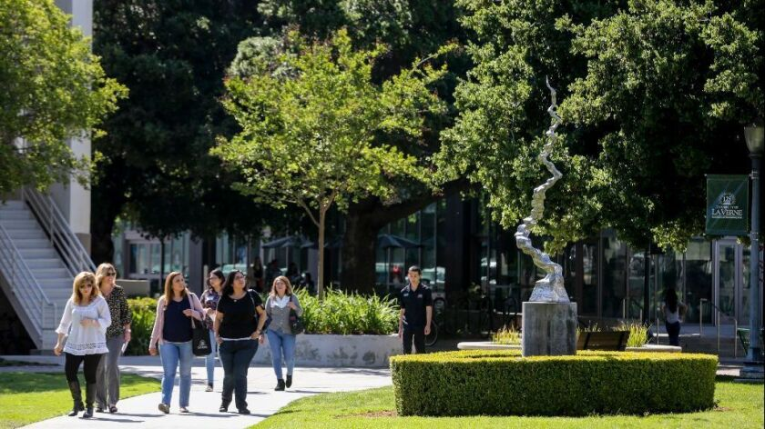 Students accepted at University of La Verne tour the campus with family members.