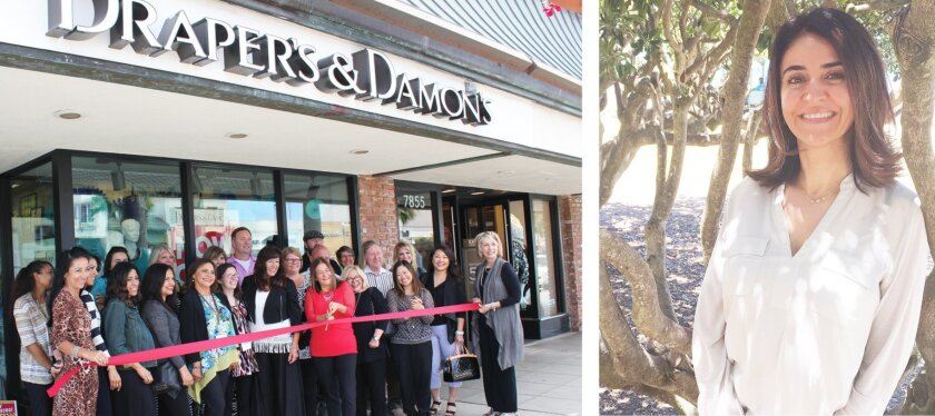 After leaving the Village several years ago, Draper's and Damon's women's boutique and aesthetician Maryam Gerami (right) of Secret Spa both returned. Draper's and Damon's is at 7857 Girard Ave. (formerly Cups La Jolla), and Secret Spa is at 7734 Herschel Ave., Suite G.