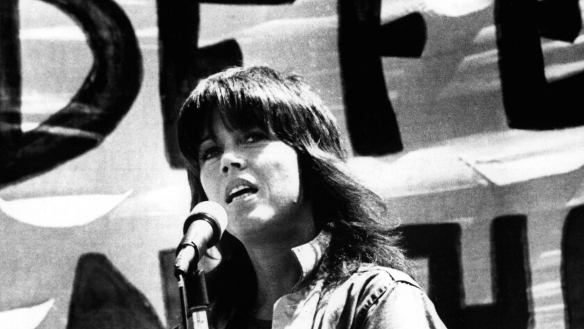 "Jane Fonda speaking at a 1972 antiwar rally in San Francisco, from the documentary ""Jane Fonda in Five Acts."""