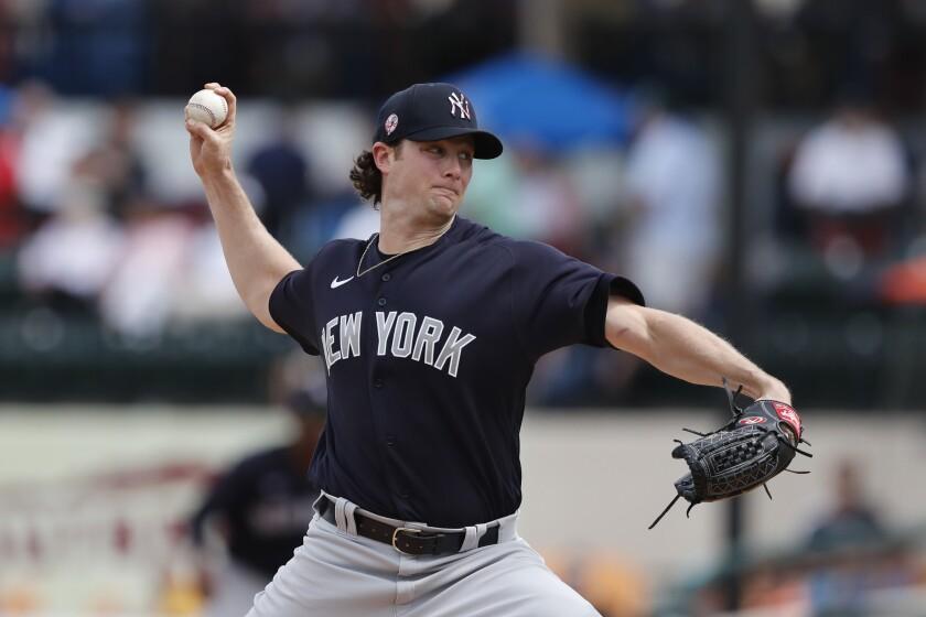el pitcher Gerrit Cole de los Yanquis de Nueva York
