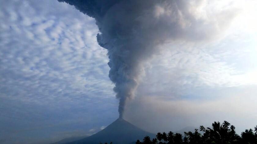 Mount Soputan spews hot ash as seen from Minahasa, Indonesia.