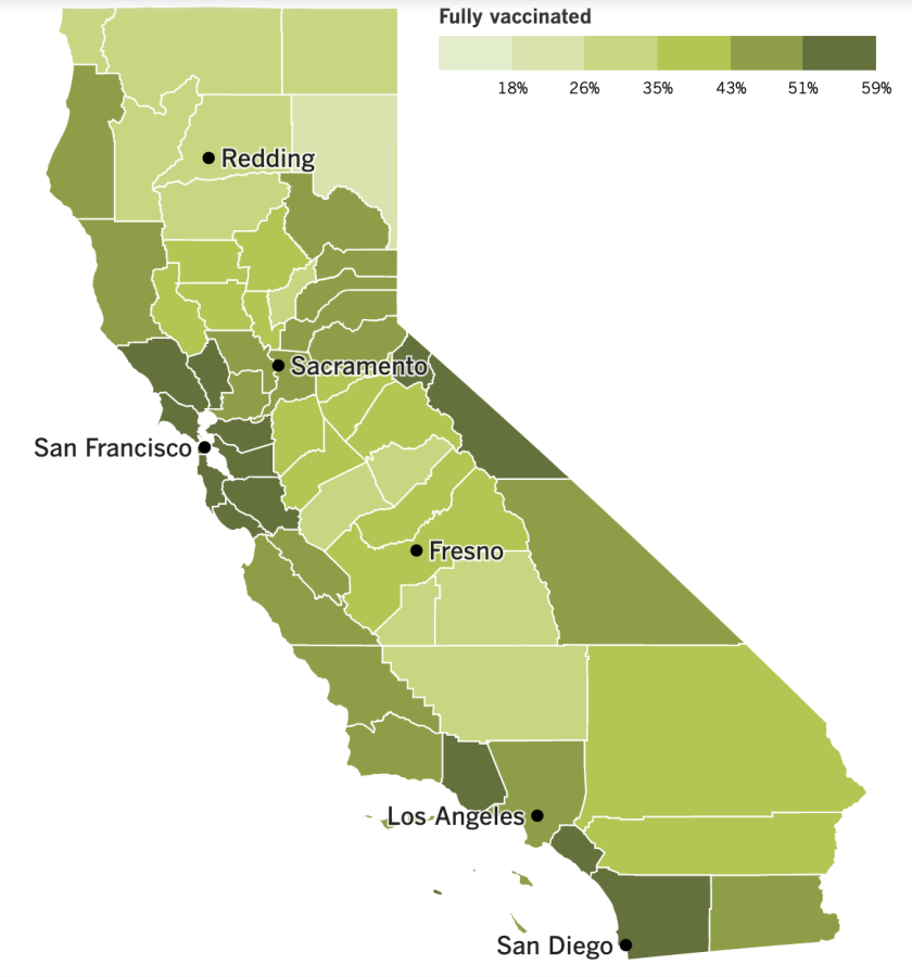 A map of the state that shows vaccination rates by county.