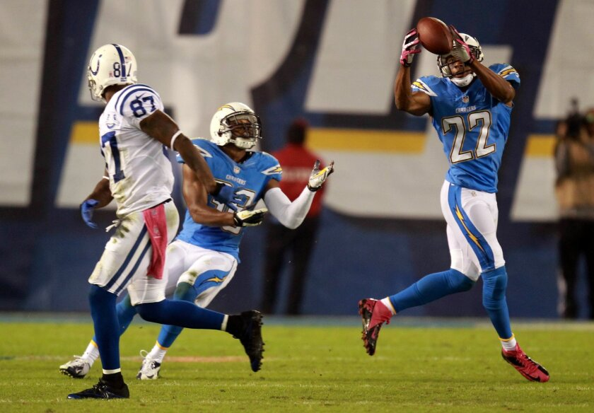 Derek Cox intercepts this pass meant for Reggie Wayne sealing the game for the Chargers as they beat the Colts 19-9
