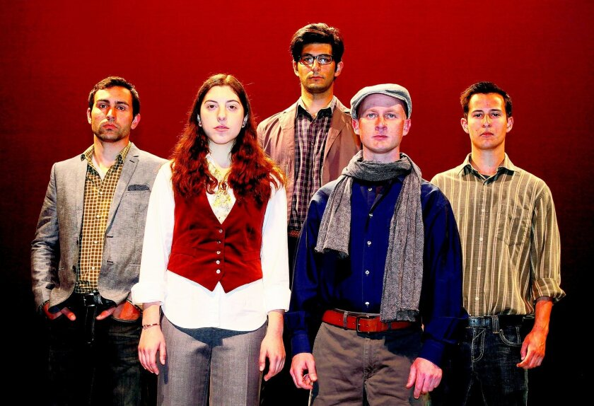 "Alex Cwalinski, Natalie Bialostozky, Tristan Vakili (back row), Joshua Greenfield and Daniel Liuag star in ""The Laramie Project, Ten Years Later"" at MiraCosta College. CREDIT: MiraCosta College"