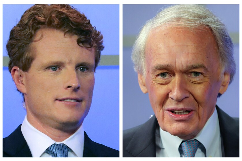 FILE - In this pair of June 1, 2020, file photos, Rep. Joe Kennedy III, left, and Sen. Edward Markey, D-Mass., right, wait for the start of a debate in Springfield, Mass. Kennedy is a candidate and Markey is the incumbent in the Sept. 1 Democratic primary election for Senate. (Matthew J. Lee/The Boston Globe via AP, Pool, File)