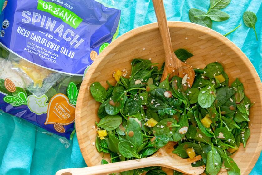 Trader Joe's Organic Spinach n Riced Cauliflower Salad.