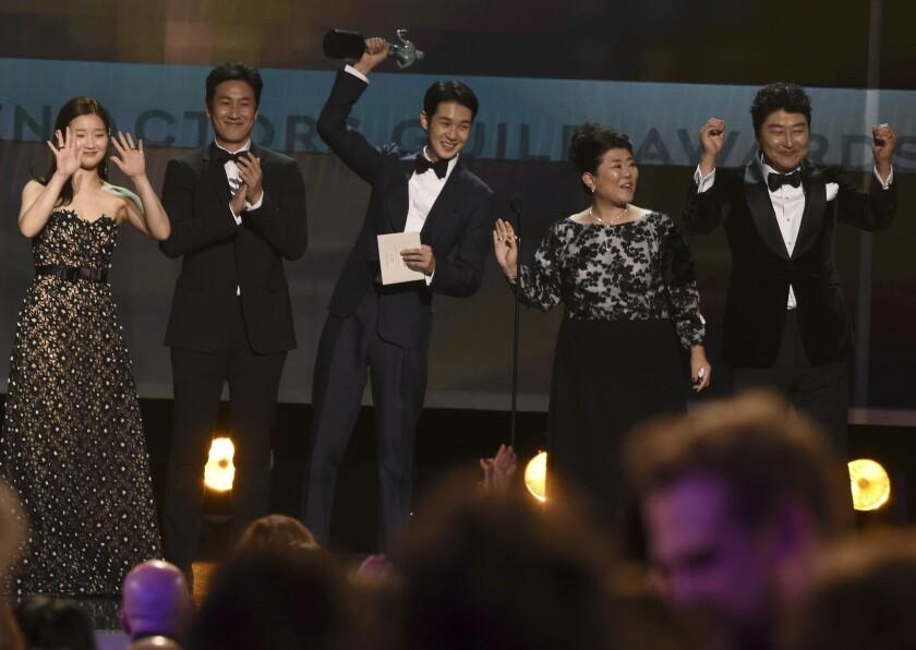 """Parasite"" stars Park So-Dam, Lee Sun Gyun, Choi Woo-Shik, Lee Jeong-Eun and Kang-Ho Song."