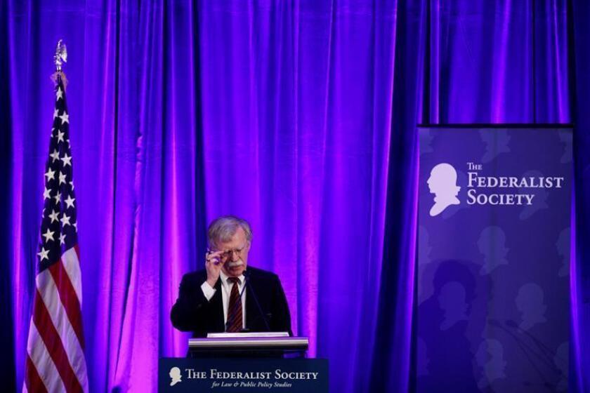 El asesor de seguridad Nacional de la Casa Blanca, John Bolton, pronuncia su discurso durante el almuerzo de la Sociedad Federalista, en Washington (EE.UU, el 10 de septiembre de 2018. EFE/Archivo