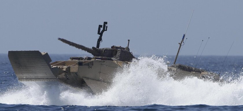 An Expeditionary Fighting Vehicle makes a test run off Oceanside on Tuesday, Aug. 24, 2010. (AP Photo/Gregory Bull)