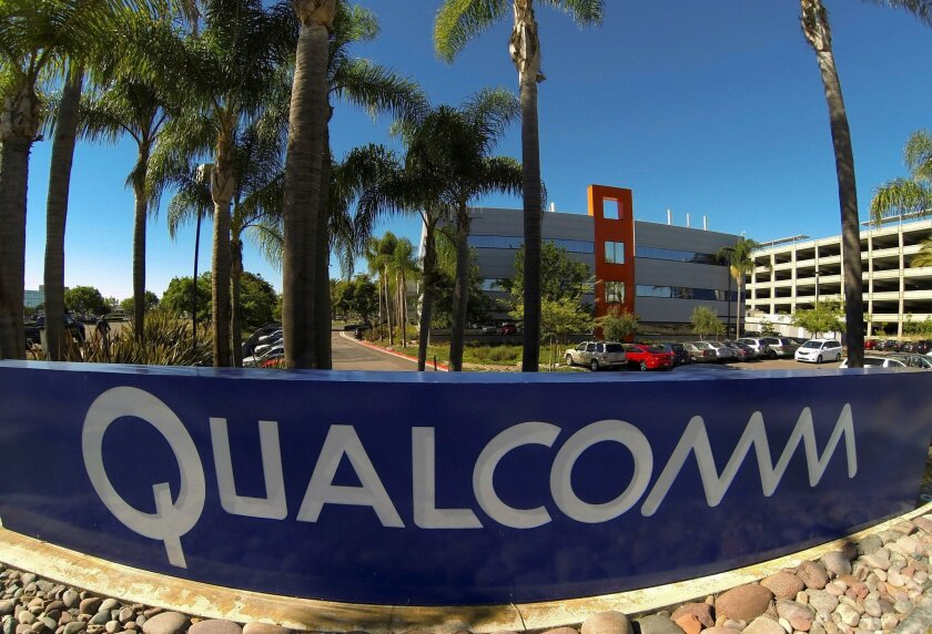 A Qualcomm sign is pictured in front of one of its many buildings in San Diego in this file photo. Qualcomm reported fourth quarter and year end earnings on Wednesday.