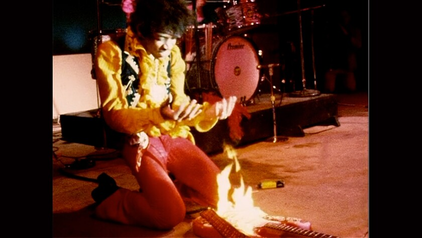 Jimi Hendrix performing at the Monterey Pop Festival in 1967.